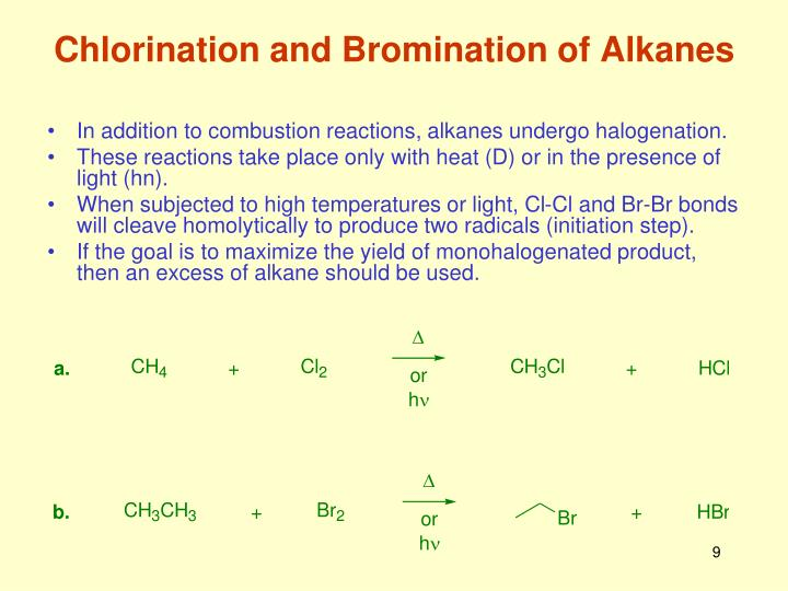 Chlorination and Bromination of Alkanes