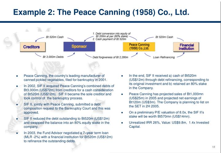 Example 2: The Peace Canning (1958) Co., Ltd.