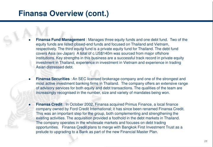 Finansa Overview (cont.)