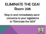 eliminate the gea room 208