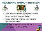 recording studio room 206