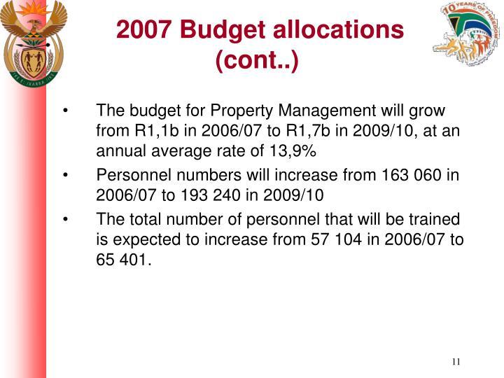 2007 Budget allocations (cont..)