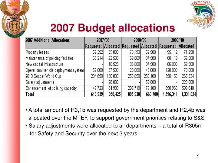 2007 Budget allocations