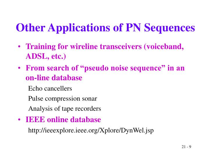 Other Applications of PN Sequences