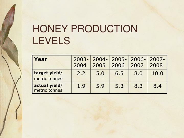 HONEY PRODUCTION LEVELS