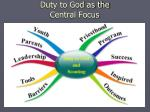 duty to god as the central focus