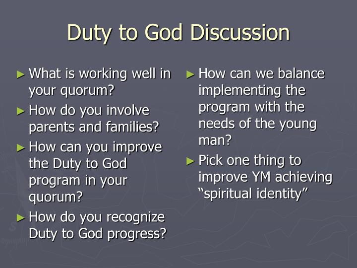 Duty to God Discussion
