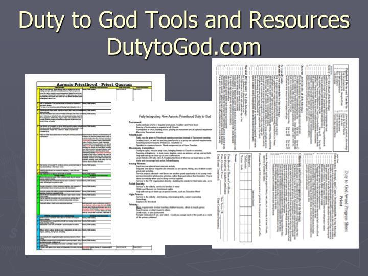 Duty to God Tools and Resources