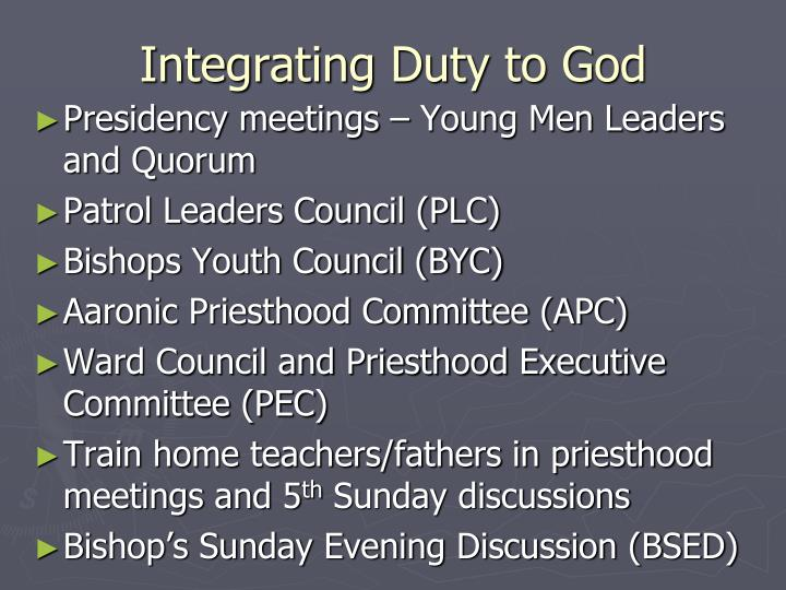 Integrating Duty to God