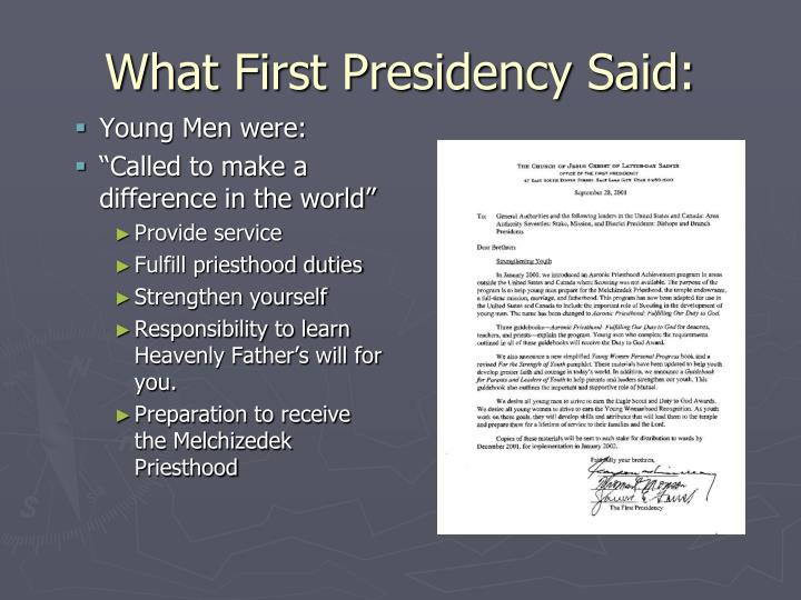 What First Presidency Said: