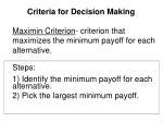 criteria for decision making