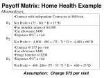 payoff matrix home health example3
