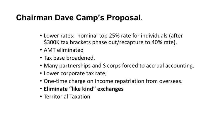 Chairman Dave Camp's Proposal