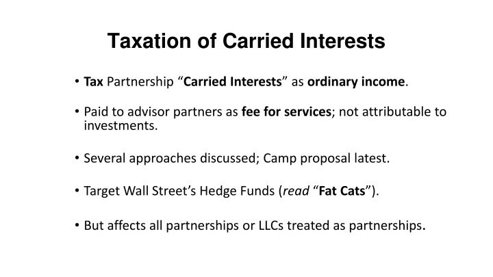 Taxation of Carried Interests