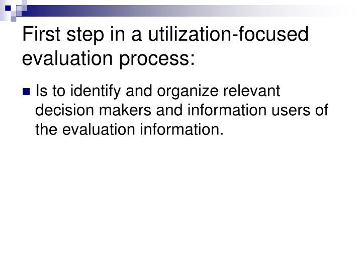 First step in a utilization-focused evaluation process: