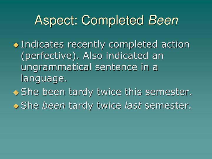 Aspect: Completed