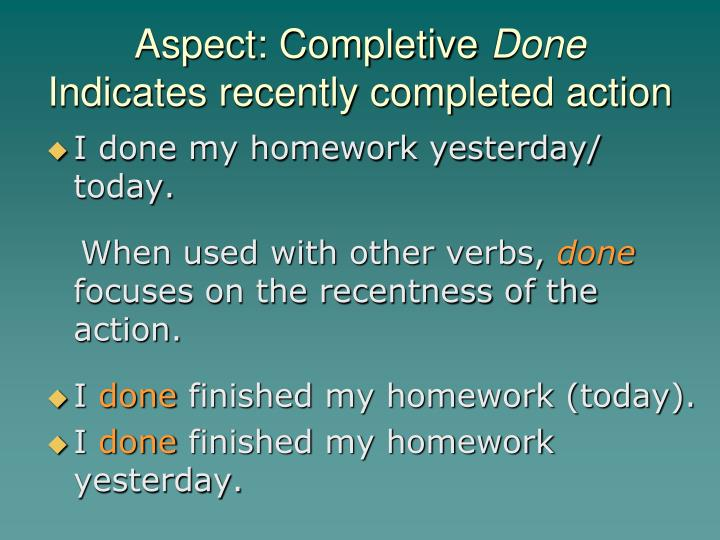 Aspect: Completive