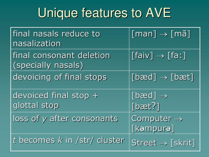 Unique features to AVE