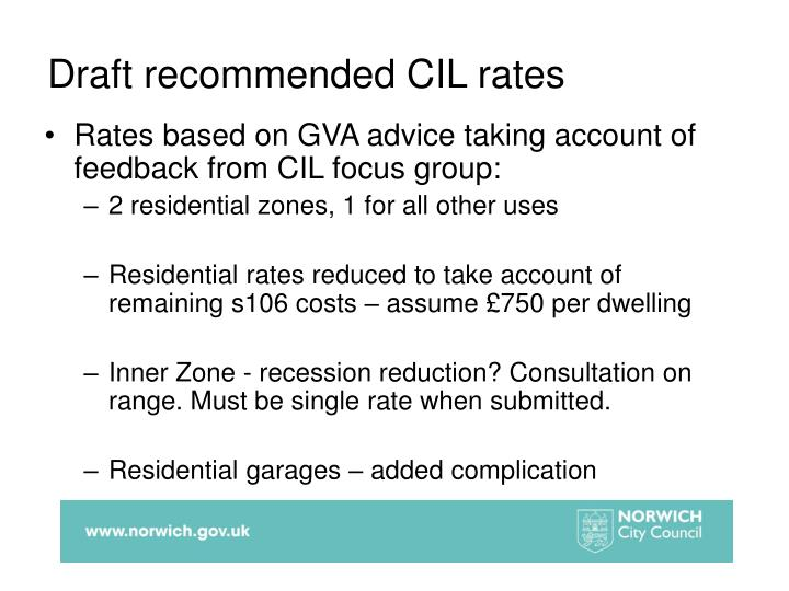 Draft recommended CIL rates