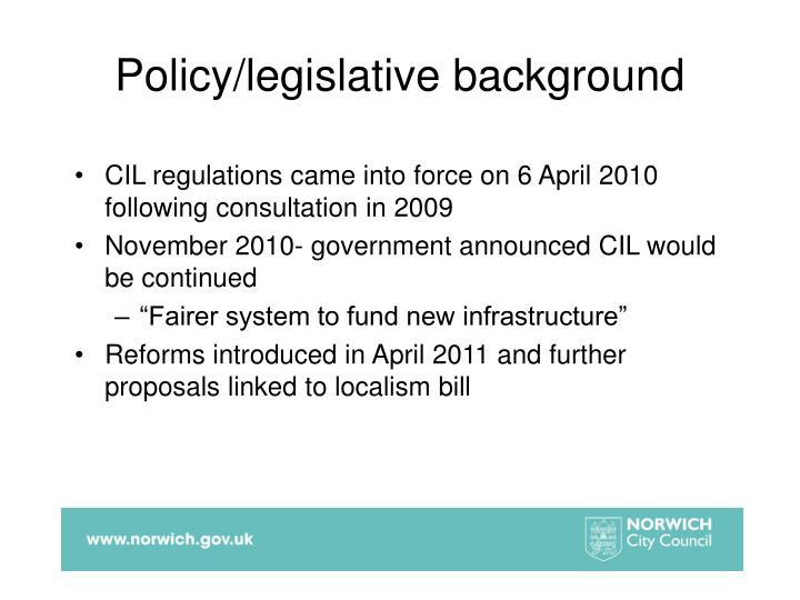 Policy/legislative background