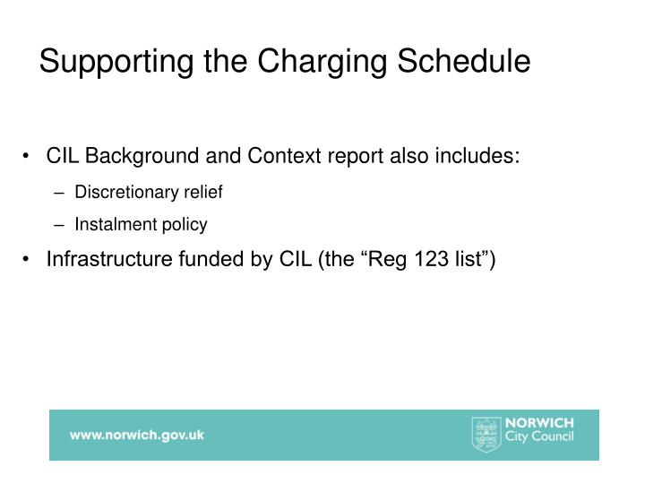 Supporting the Charging Schedule