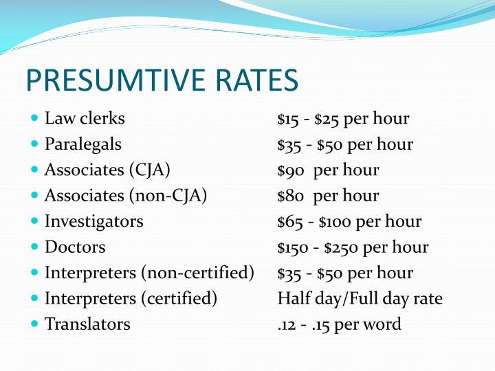 PRESUMTIVE RATES