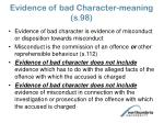 evidence of bad character meaning s 98