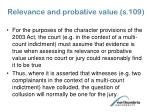 relevance and probative value s 109