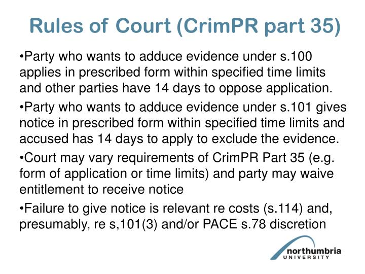 Rules of Court (CrimPR part 35)