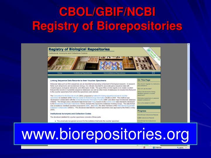 CBOL/GBIF/NCBI