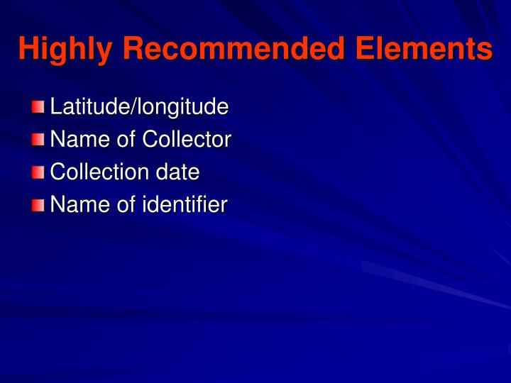 Highly Recommended Elements