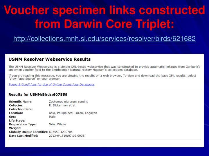 Voucher specimen links constructed from Darwin Core Triplet: