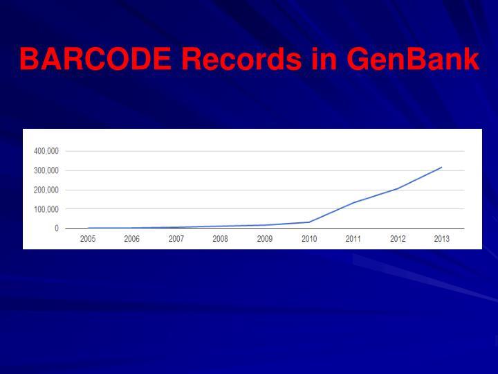 BARCODE Records in GenBank