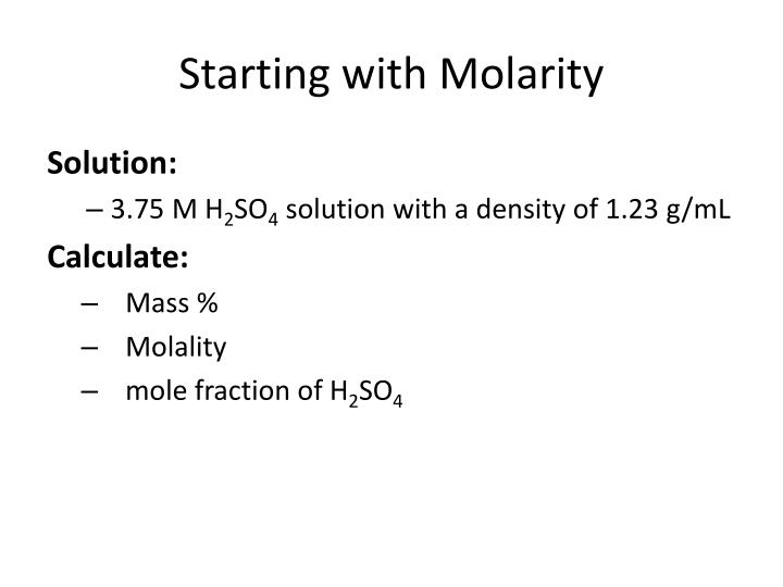 Starting with Molarity