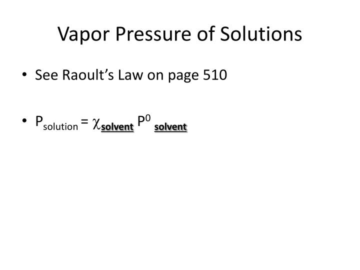 Vapor Pressure of Solutions