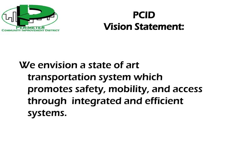 Pcid vision statement