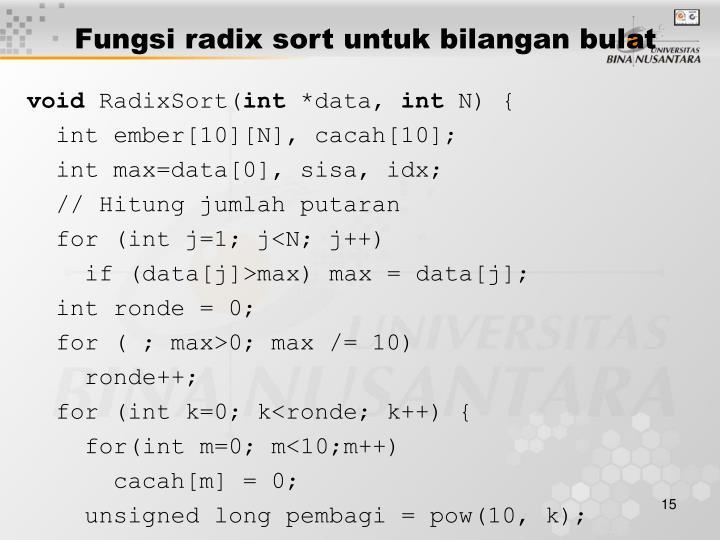 Fungsi radix sort untuk bilangan bulat