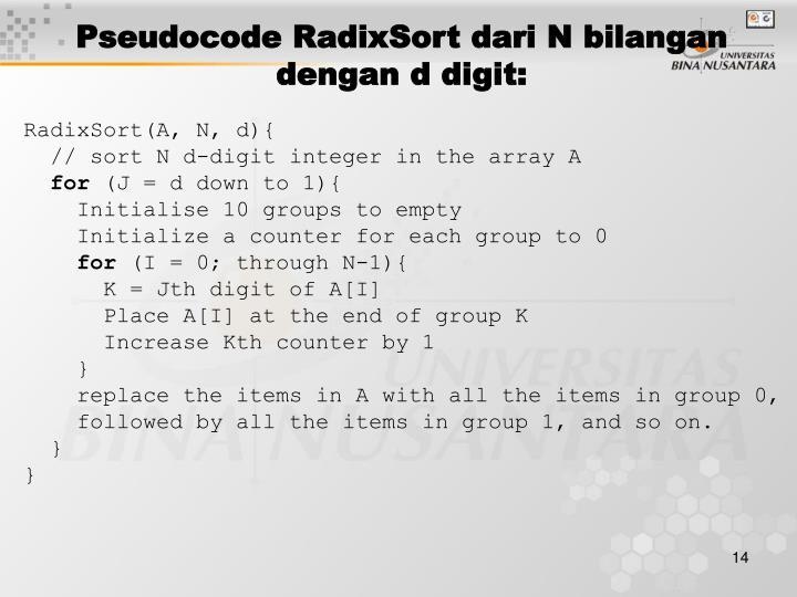 Pseudocode RadixSort dari N