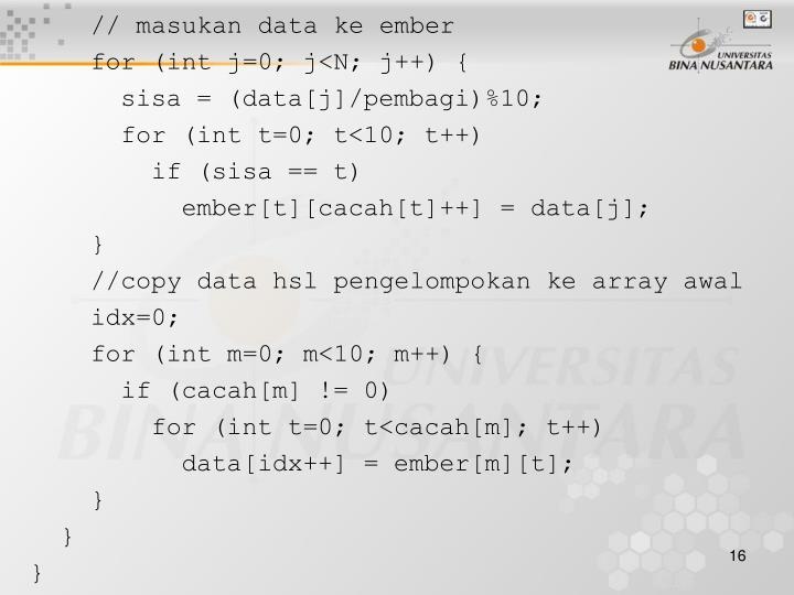 // masukan data ke ember