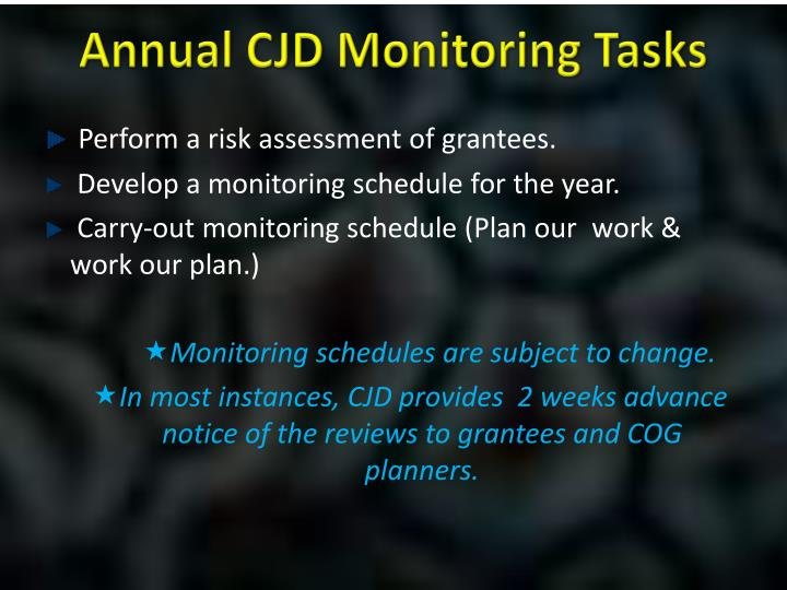 Annual CJD Monitoring Tasks