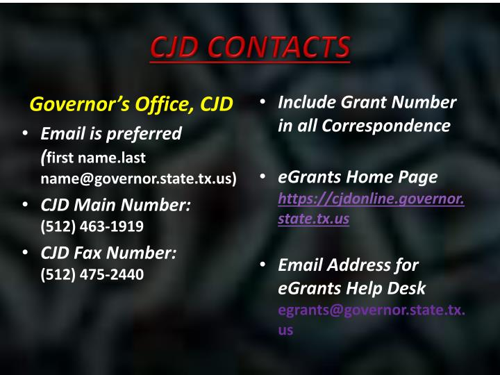 CJD Contacts