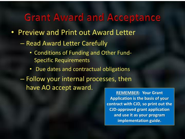 Grant Award and Acceptance