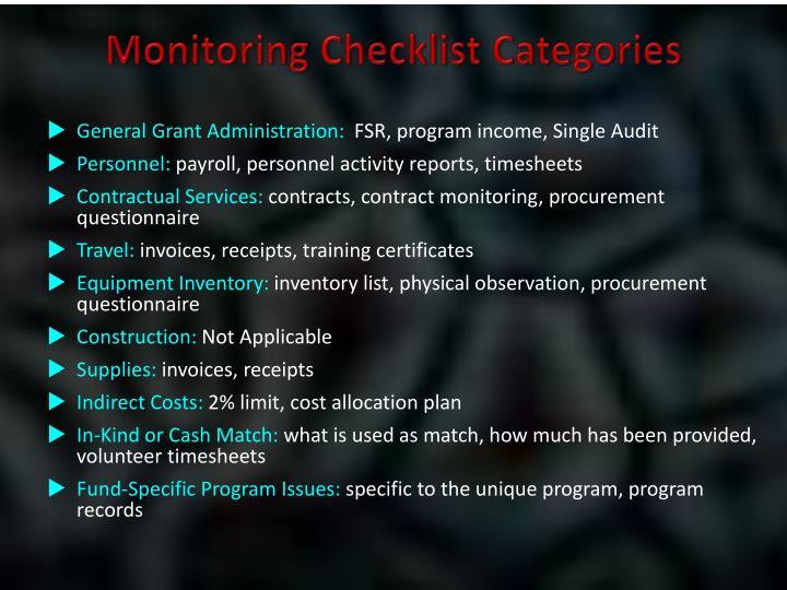 Monitoring Checklist Categories