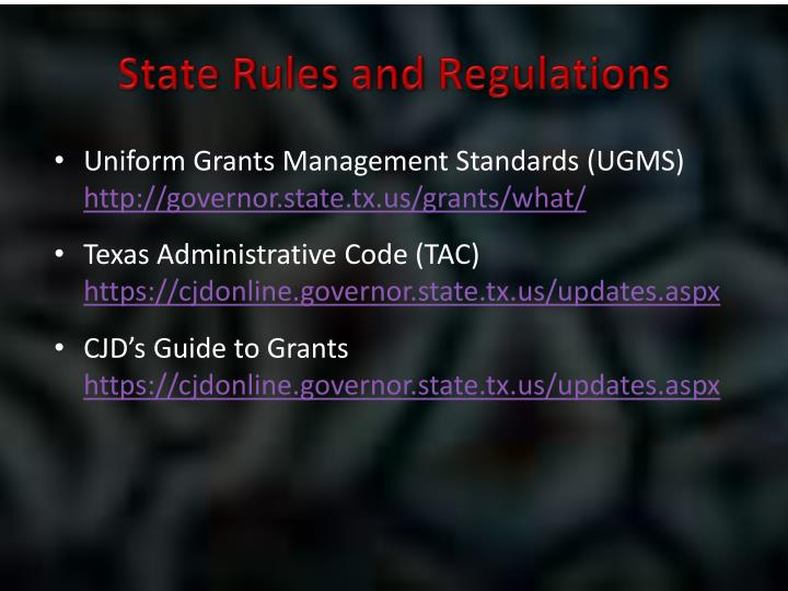 State Rules and Regulations