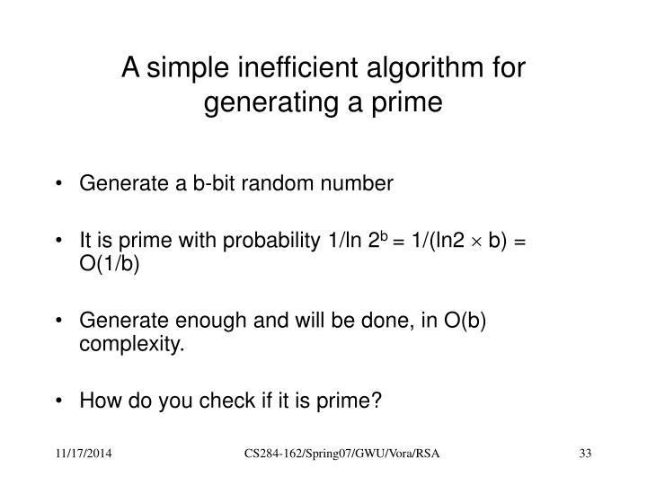 A simple inefficient algorithm for generating a prime