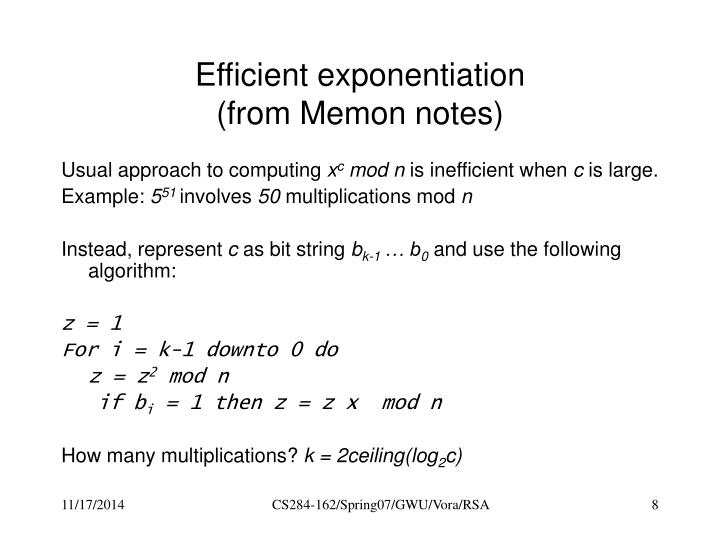 Efficient exponentiation