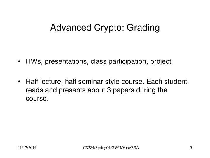 Advanced Crypto: Grading