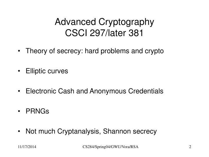 Advanced Cryptography