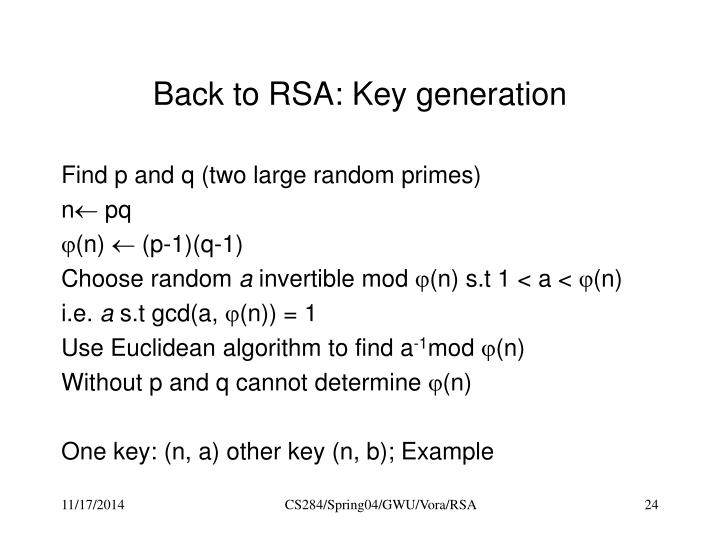 Back to RSA: Key generation