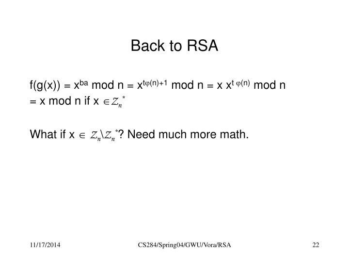 Back to RSA